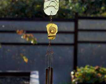 Wind Chimes Sea Glass and Copper Sun Catcher with Brass Chimes beach glass stained glass windchime