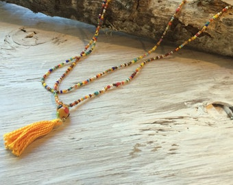 Tassel Necklace, Seed bead necklace, long beaded necklace, endless necklace