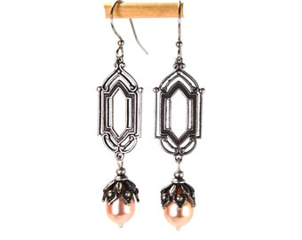Silver Filigree Earrings in Antiqued Silver with Peach Swarovski Pearls Antique Art Deco Style