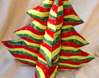 Green and Red Striped Tabletop Christmas Tree - Extra Large - 3d Decoration Centerpiece - Fabric Plush Stuffed Holiday Decor