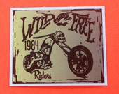 Wild and Free Riders Skull Motorcycle Bike Low Rider Kyoto Junk Shop Vinyl Sticker
