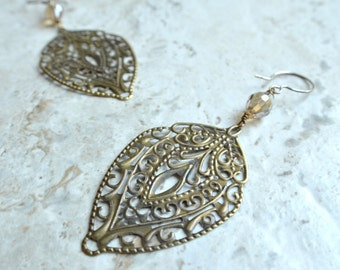 The Anita- Brass Filigree and Champagne Czech Glass Earrings
