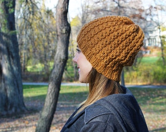 Mustard Yellow Slouchy Hat - Vegan Chunky Knit Tam Beanie - Warm for Fall & Winter - Boho Hat - Hipster Hat - Womens Gift - Gift for Her