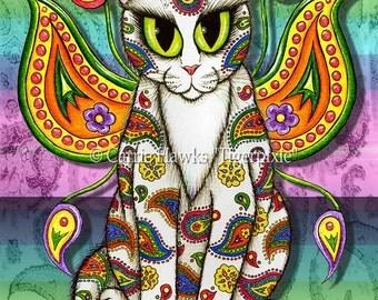 Whimsical Cat Art Fairy Cat Painting Rainbow Paisley Cat Psychedelic Big Eye Art Fantasy Cat Art Print 8x10 Cat Lovers Art