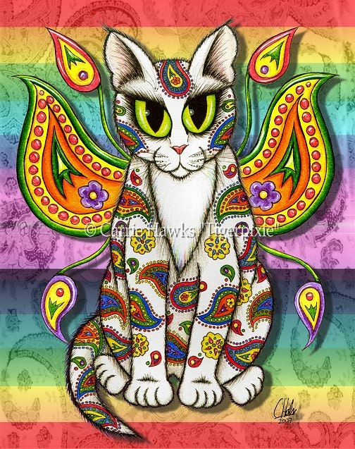 Whimsical Cat Art Fairy Cat Painting Rainbow Paisley Cat