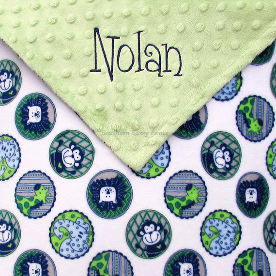 Personalized Baby Blanket , Baby Boy Blanket - Zoo Jungle Animals Blanket , Baby Shower Gift for Baby Boys