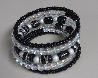 Black & Silver Wrap Around Bangle Bracelet