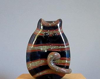 Shimmering Handmade Lampwork Cat Bead Focal - PJ FatCat