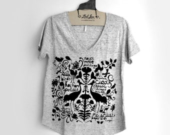 Large -  Heather Gray Speckle V-Neck Tee with Folk Art Screen Print