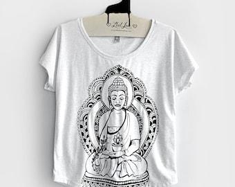 Small-  Tri-Blend Heather White Dolman Top with Buddha Screen Print