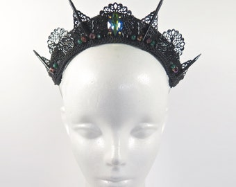 Black and Mystic Green Spike Tiara - by Loschy Designs