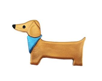 Bandana Weiner Dog Pin, Dachshund Jewelry, Daschund Jewelry, Doxie Pin, Weiner Dog Jewelry
