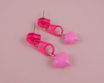 Pink Zip Earrings, Pink Heart Earrings - neon pink zippers, heart studs, cute kawaii kitsch, Fairy-Kei, upcycled earrings, pastel pink heart
