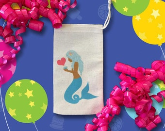 African American MERMAID Favor Bags | Baby Shower | Birthday | Bridesmaid Engagement Party | Bridal AA Latina Asian Brown Skin | Muslin 10