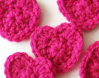 Crochet Heart Appliques, Pink Crochet Hearts, Crochet Heart Embellishment, Scrapbooking, Set of 5, Crochet Heart Motif