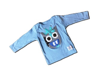MONSTER SHIRT - Cyan the Monster Tee on a Long Sleeve Blue Lap Tee - Also Available in Short Sleeves - Or Toddler Lap Tee Or Youth Shirt