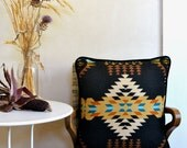 Native Inspired Design Pillow Throw Cushion Black Gold Turquoise w/ Down Insert