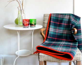 Plaid Wool Blanket Red & Green w/ Bright Red Corduroy Edge Holiday Colors
