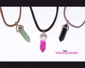 Gemstone Crystal Pendant Necklace on Faux Suede Cord