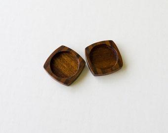Artisanal quality marquetry hardwood bezel trays - Mahogany and Walnut - 25.5 mm cavity - (F2-X) - Set of 2