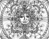 Bluemoose ART Coloring Book pages Sun ART Mandala