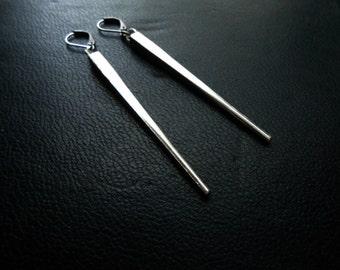 ten dollar sale - furiosa - silver spike stake earrings minimal goth soft grunge jewelry handmade earrings