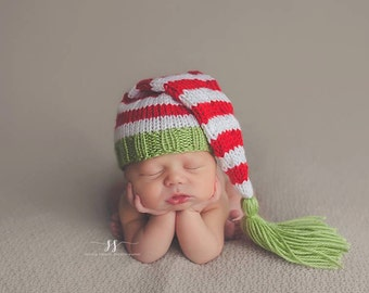 Peppermint Elf - Striped Newborn Christmas Stocking Hat