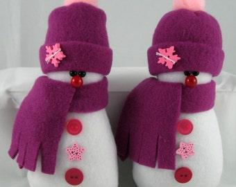 Snowman Ornaments, Holiday Decor, Set of 2 Christmas Ornaments, Handmade Decorative Stuffed Snowman in Raspberry Fleece