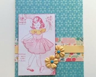 Birthday All Occasion Handmade Card / Pink Girl Vintage Retro / Creative Designs by Della