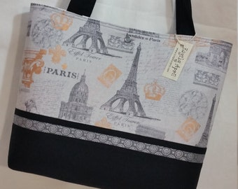 Paris Eiffel Tower purse tote Bags by April SALE