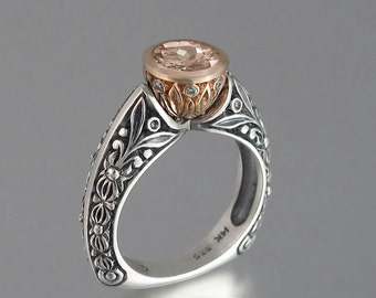 The CROWNED COUNTESS Morganite engagement ring 14k rose gold and silver (sizes from 4 to 7)