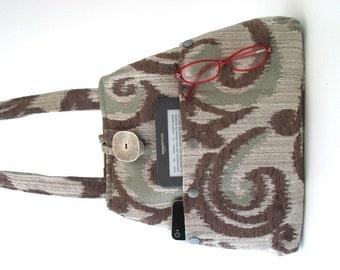 womens handbags, bag with pockets, brown shoulder bag, fabric handbag, shoulder purse, fabric tote bag, hobo bag