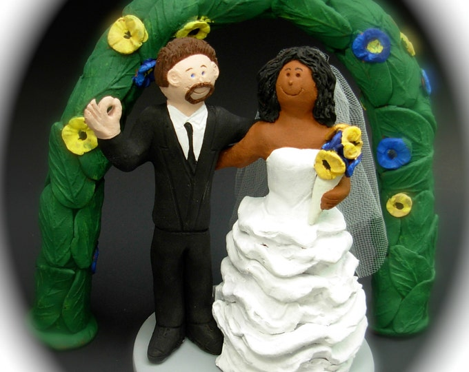 African American Bride Marries White Groom, Mixed Race Wedding Cake Topper, Interracial Wedding Cake Topper, Bi-Racial Wedding Cake Topper