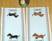 Dachshund Kitchen Tea Towel Vintage Inspired Multi Stripe