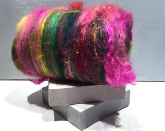 "fiber art batt wool roving spinning fiber felting ""Pink Geranium"" Hot Pink Fuschia Dark green Yellow Green Chartreuse, Retro Christmas color"