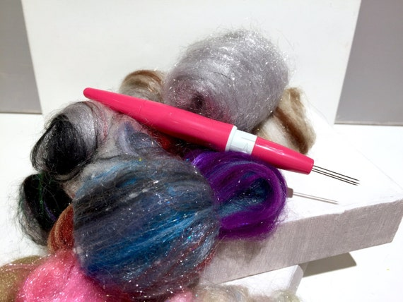 Needle Felting Pen Tool,with free wool, felting kit, Pen tool, needle felting tool, Multi-needle felting tool, felting pen tool by Clover
