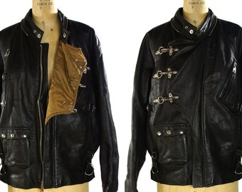 Avirex Leather Motorcycle Jacket / Vintage Military Bomber Flight Jacket in Black Leather