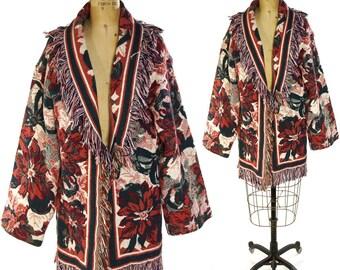 90s Fringed Blanket Coat / Vintage 1990s Woven Cotton Blanket Jacket with Floral Pattern and Fringe Trim
