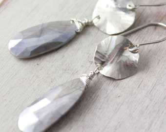 Hammered Silver and Ausralian Moonstone Earrings