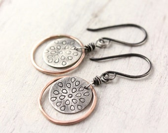 Stamped Lotus Silver and Rose Gold Circle Earrings