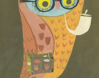 Mr. Owl goes on vacation.  Limited edition 11x14 print by Matte Stephens.