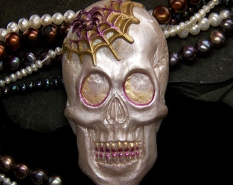 Pearl, Purple, & Gold Skull Skeleton Head with Spider Face Cab handmade Polymer Clay Cabochon