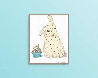 Rainbow Sprinkles Bunny and Cupcake Print, Rabbit Art Print, Bunny Decor, Animal Wall Art, Cute Gifts, Cute Bunny Art, Cupcake Print, Kawaii