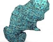 decorative pillow, cat pillow, kitty pillow, animal pillow, big fluffy cat shaped blue batik fabric