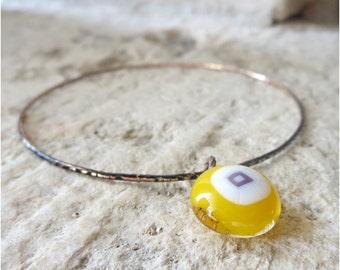 Bangle , Fused Glass Charm Bangle, Bracelet, Stackable Bangle, Stacking Bracelet, Bohemian Bangle, Fused Glass Jewellery