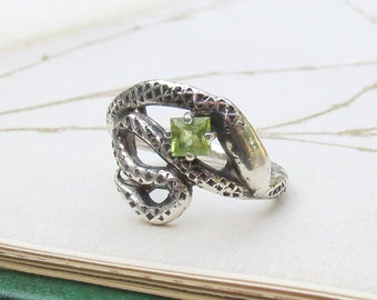 Peridot Gemstone Snake Ring One of a Kind Sterling Silver Statement Ring with Square Princess Green Gemstone
