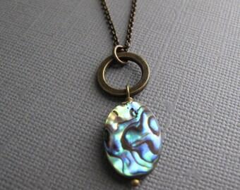 Paua Shell Necklace, Brass Boho Pendant, Natural Shell Jewelry, Nickel Free Brass Chain