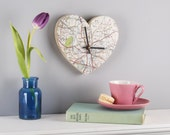Map Location Heart Clock - Personalised anniversary gift - fifth anniversary gift - anniversary gift for wife - wedding gift