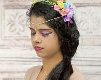 Floral Headpiece Diadem, Floral Circlet, Flower Crown, Fairy Headpiece, Elven Headdress, Costume Headpiece, Rainbow, Pastel, Crown, Headband