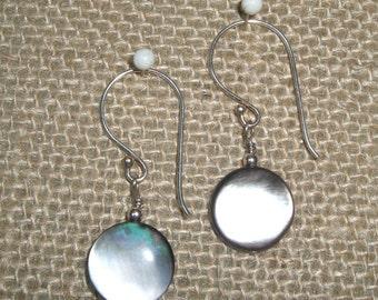 Sterling Black Lip Shell Earrings